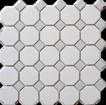 CC Mosaics - Octagonal Snow White & Gray 12X12