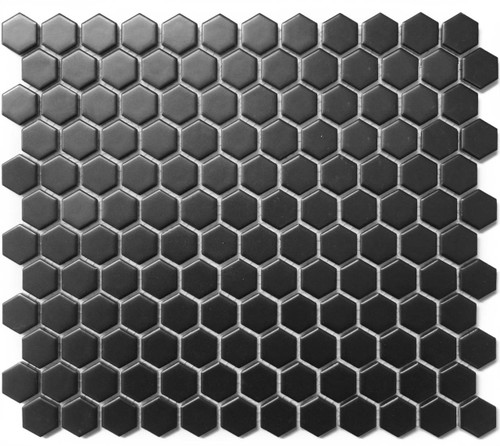 Cc Mosaics Hexagon Black Matte 1x1 On 12x12 Sheet