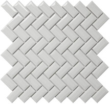 CC Mosaics - Bright White Diamond Herring 12x12