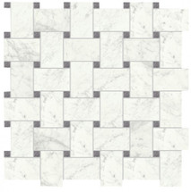 I Marmi Carrara Polished Basketweave Mosaic 12x12 Sheet