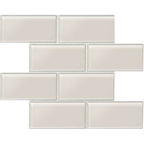 "Amity - Taupe Subway Glass Tile 3"" x 6"""