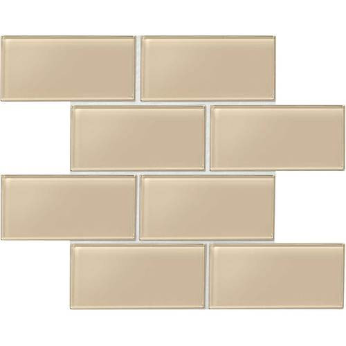 "Amity - Beige Subway Glass Tile 3"" x 6"""