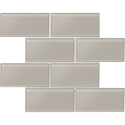 "Amity - Grey Subway Glass Tile 3"" x 6"""