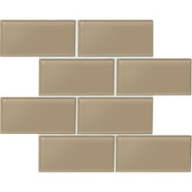 "Amity - Brown Subway Glass Tile 3"" x 6"""