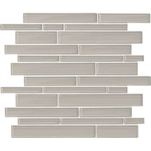 "Amity - Grey Random Linear Glass Mosaic 11-7/16"" x 13-7/8"""