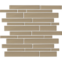 "Amity - Brown Random Linear Glass Mosaic 11-7/16"" x 13-7/8"""