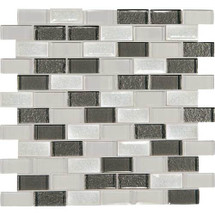 "Crystal Shores - Diamond Delta Glass Brick Joint Mosaic 2"" x 1"" On 11-3/4"" x 12-3/4"" Sheet"