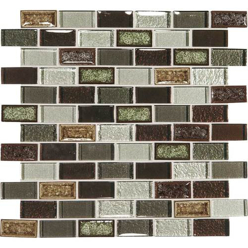 "Crystal Shores - Hazel Harbor Glass Brick Joint Mosaic 2"" x 1"" On 11-3/4"" x 12-3/4"" Sheet"