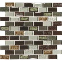 "Crystal Shores - Hazel Harbor Glass Brick Joint Mosaic 2"" x 1"" On 11-3/4"" x 12-3/4"" Sheet"