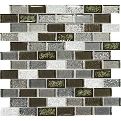 "Crystal Shores - Emerald Isle Glass Brick Joint Mosaic 2"" x 1"" On 11-3/4"" x 12-3/4"" Sheet"