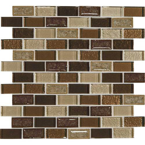 "Crystal Shores - Copper Coast Glass Brick Joint Mosaic 2"" x 1"" On 11-3/4"" x 12-3/4"" Sheet"