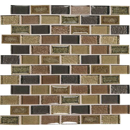 "Crystal Shores - Aurelian Seas Glass Brick Joint Mosaic 2"" x 1"" On 11-3/4"" x 12-3/4"" Sheet"