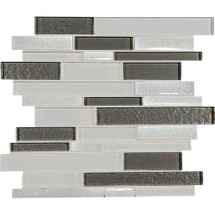 "Crystal Shores - Diamond Delta Glass Random Linear Mosaic 11-3/4"" x 13-7/8"" Sheet"