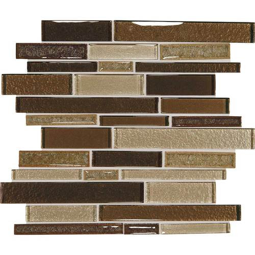 "Crystal Shores - Copper Coast Glass Random Linear Mosaic 11-3/4"" x 13-7/8"" Sheet"