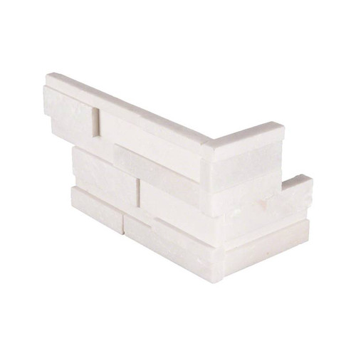 Ledger Panel Arctic White 3D Honed Panel Corner 6x18x6 (LPNLMARCWHI618COR-3DH)