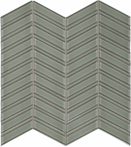 Element Smoke Chevron Glass Mosaics (35-124)