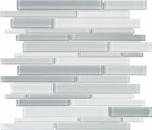 Element Shades of Grey Blended Random Strip Glass Mosaics (35-096)