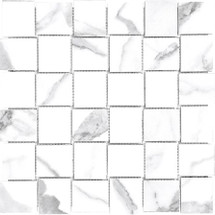 Mayfair Statuario Venato 2x2 HD Basketweave Porcelain Mosaics (69-358)