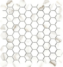 Mayfair Calacatta Oro 1.25x1.25 HD Hexagon Polished Porcelain Mosaics (69-922)
