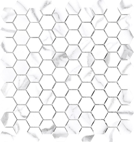 Mayfair Statuario Venato 1.25x1.25 HD Hexagon Polished Porcelain Mosaics (69-923)