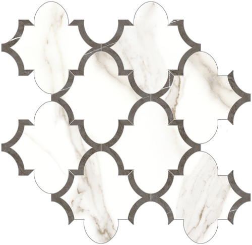 Mayfair Calacatta Oro Arabesque HD Polished Porcelain Mosaics (69-966)