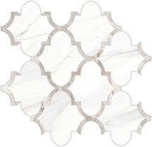 Mayfair Volakas Grigio Arabesque HD Polished Porcelain Mosaics (69-968)