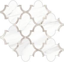 Mayfair Volakas Grigio Arabesque HD Polished Porcelain Mosaics (69-968)