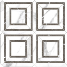 Mayfair Statuario Venato Piazza HD Polished Porcelain Mosaics (69-970)