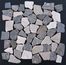 Tumbled Marble Mosaic Brindle Ash 12x12 Seamless Interlocking (TOETMMBRIASH1212)