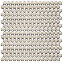 CC Mosaics Plus+ Cream Bright Penny Round Mosaic 12x12 (UFCC126-12M)