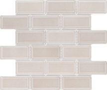 CC Mosaics Plus+ Tender Gray Bright 2x4 Beveled Brick Mosaic 12x12 (U761BV-12M)