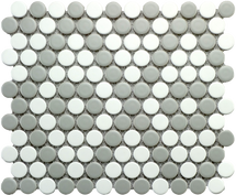 CC Mosaics - Matte Gray and White Penny Round Mosaic 9x10 (UFCCGRW-12M)