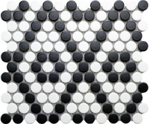 Matte Black and White Penny Round Mosaic 9x10 (UFCCBLW-12M)