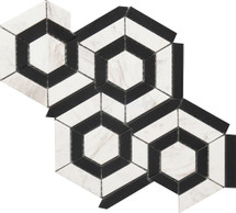 Black and White Hexagon Marble Mosaic 9x12 (USTMBWHX012)