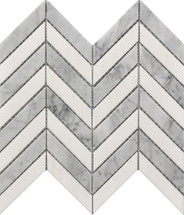 Chevron White and Gray Marble Mosaic 11x12 (USTMCHEV011)
