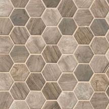 Driftwood Hexagon Interlocking Patterned Mosaic (SMOT-GLS-DRIFT6MM)
