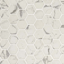 Statuario Celano Hexagon Mosaic (SMOT-GLS-STACEL6MM)