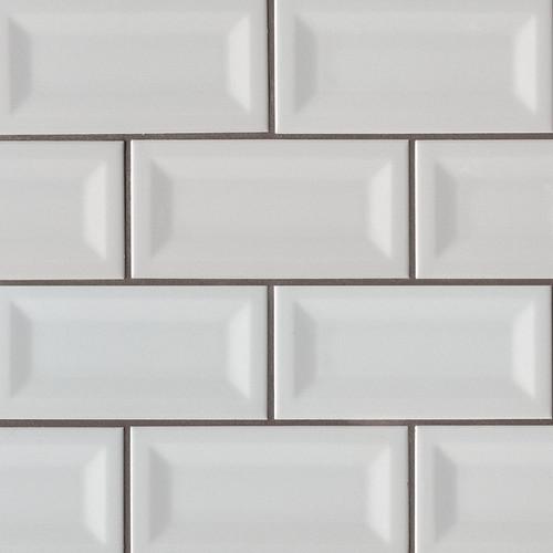Domino Gray Glossy Inverted Beveled Subway Tile 3x6 (NGRAGLO3X6INVBEV)
