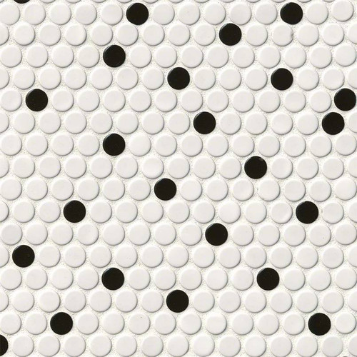 Domino White and Black Glossy Penny Round (NWHIBLAPENROU)