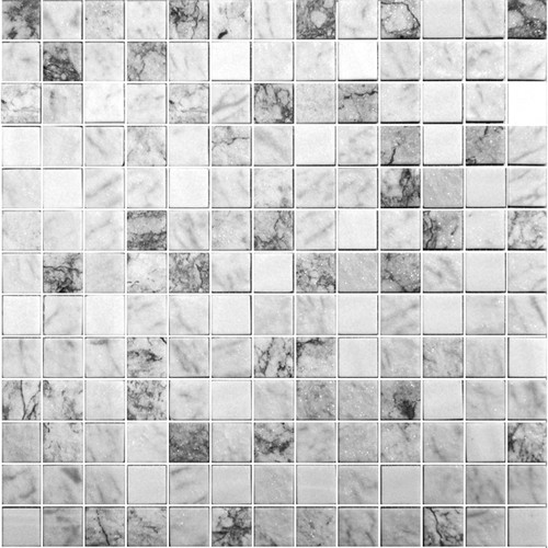 Glass Onix Essence Carrara Grey 1x1 Mosaic Blend