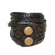 Leather Wrap Bracelet - Onyx/ Antique Gold