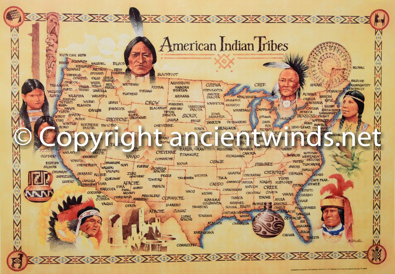 Indian Tribes In Us Map.Map Of Native American Tribes Usa Ancient Winds Flutes