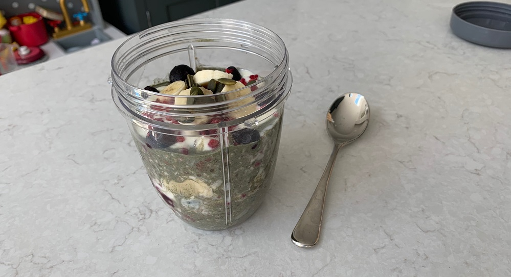 33fuel overnight oats recipe - ingredients in a mixer
