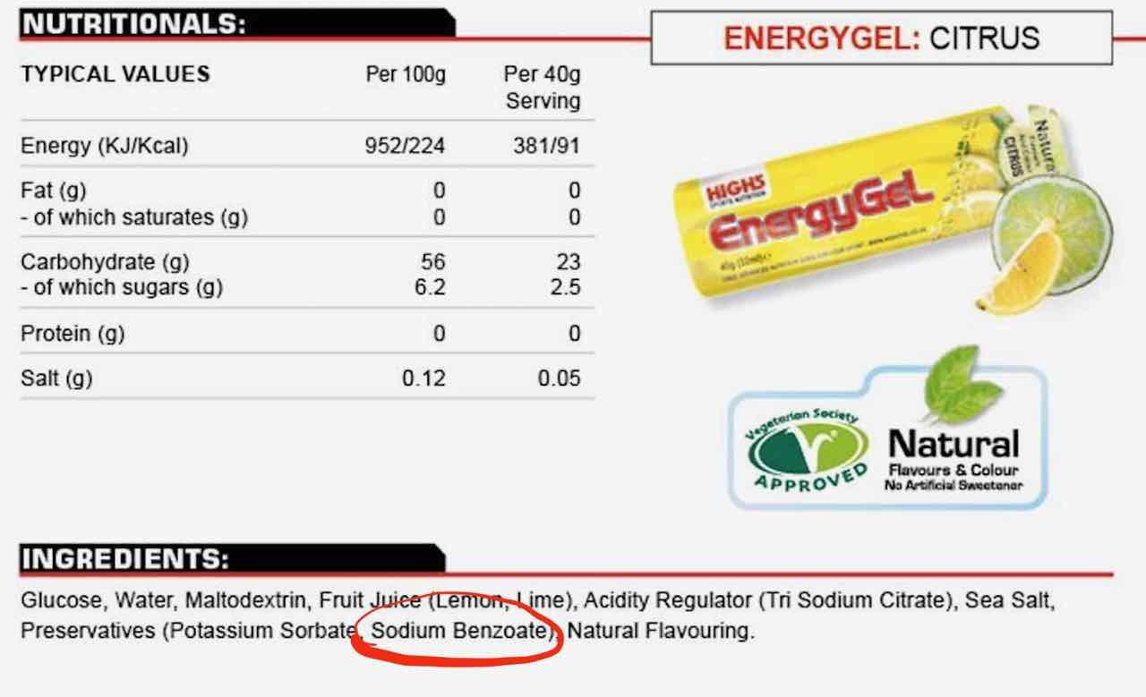 sodium benzoate energy gel