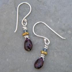 Elegant Garnet Drop Earrings