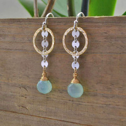 Dangling Chalcedony and Gold Circle Earrings