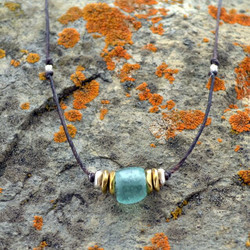 Recycled Aqua Glass Barrel Linen Necklace