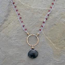 Wrapped Garnets & Smokey Tibetan Necklace