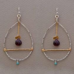 Encompassed Garnet Earrings