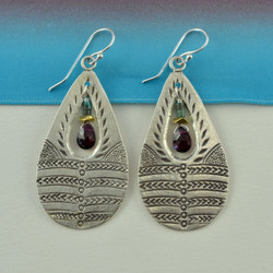 Stamped Teardrop Garnet Earrings